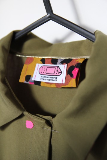 Close up of label from Pink Coat Club
